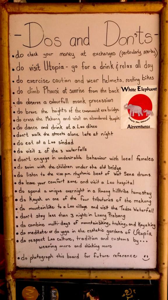 To Do Liste Luang Prabang die ich am Straßenrand fand